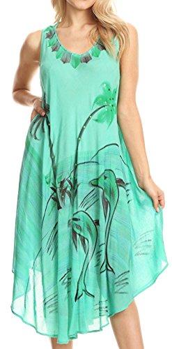 41XOGoIJHdL - Sakkas Valentina Summer Light Cover-up Caftan Dress con stampa tropicale