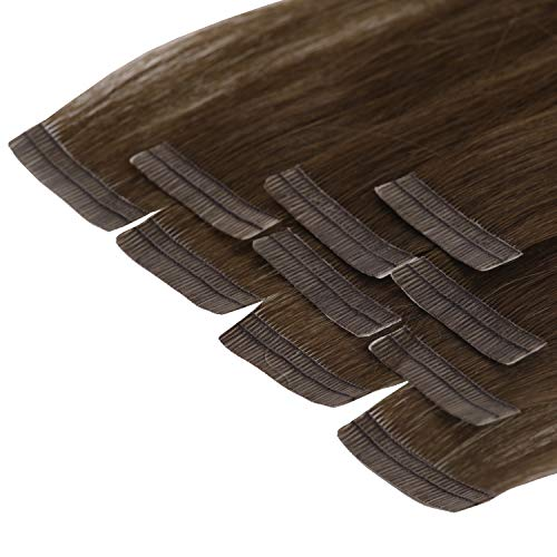 Tape In Extensions 60 cm Virgin Echthaar 10er Set Haarverlängerung Haarteile in schokobraun