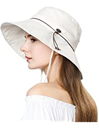 SiggiHat Sun Hat Women UV Protection Foldable UPF 50 + Cotton Bucket Beach Holiday Hat Adjuatable M & L - 54-61cm