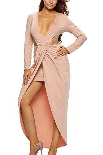 Frauen V-Ausschnitt Schnitt Ruched Schlitz Maxi Kleid Anzuziehen Apricot