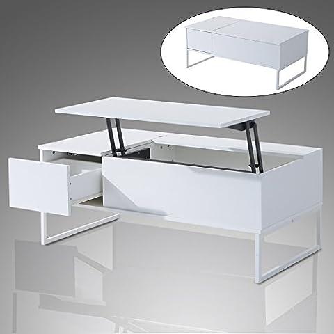 HOMCOM Wood Wooden Coffee Tea Table w/ Lift Up Top Storage & Shelf & Drawer (White)