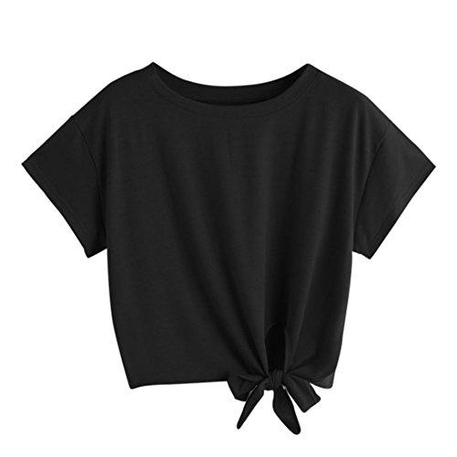T-Shirt Damen Sommer Bauchfrei V-Ausschnitt Stickerei Kurzarm Crop Tops Oberteile Bluse (M, Schwarz)