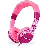 EasySMX [Geschenk für Mädchen] KM-666 Stereo Kinder Kopfhörer Leicht-Kopfhörer mit Laustärkebegrenzung Verstellbare Kinder Headset für iPod iPad iPhone(3.5mm) Android Handy PC MP3 MP4