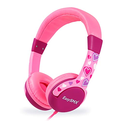 EasySMX Leicht-Kopfhörer, Kinderkopfhörer mit Laustärkebegrenzung, verstellbare Headset für iPod iPad iPhone(3.5mm) Handy Tablet PC MP3 MP4