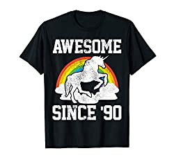 30. Geburtstag Geschenk Einhorn Spruch Lustig Awesome 1990 T-Shirt