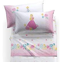 Caleffi - Juego de sábanas para Cama Individual, diseño de Princesas Romantic Aurora ...