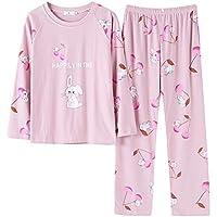 DUKUNKUN Pijamas Estampados De Manga Larga De Algodón con Cintura Elástica De Manga Larga Pijama-XL