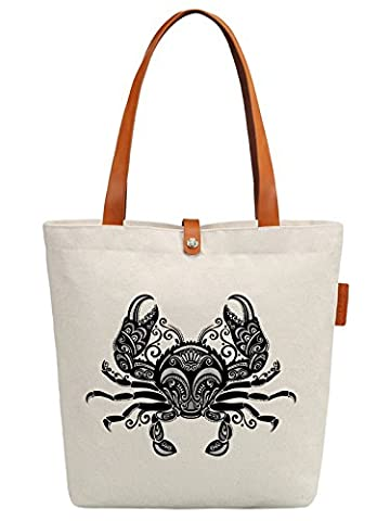 So'each Women's Crab Geometric Pattern Top Handle Canvas Tote Shoulder Bag
