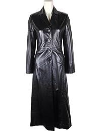 UNICORN Womens Full Length Trench Coat Real Leather Jacket Black #BA
