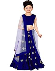Clothes Shop Girls Banglory Satin Simple Embroidered Semi Stitched Wedding Wear Lehenga Choli_(Suitable To 8-13 Year Girls)