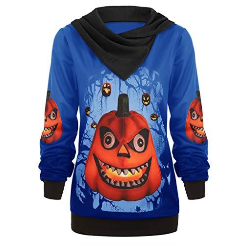 Geilisungren Damen Halloween Kostüm Frauen Mode 3D Kürbis Gedruckt Hoodie Kapuzenpullover Hooded Pullover Top Große Größen Sweatshirt Mit Kapuze Festlich Karneval Party Kleidung -