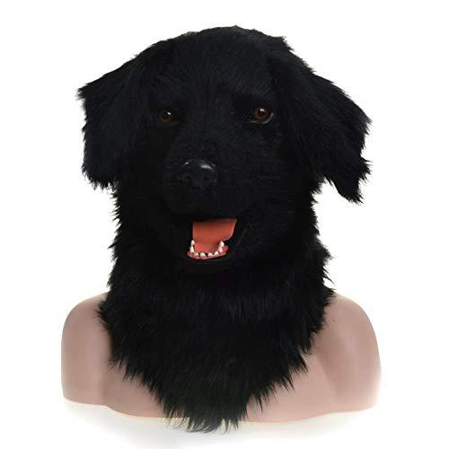 Kostüm Erwachsene Furry Für - MUJUN Schwarzer Hund Kopf Maske, Maskerade Halloween Karneval Geburtstag Party Kostüm realistisch handgefertigt angepasst Tier Cosplay beweglichen Mund mit Fell verziert