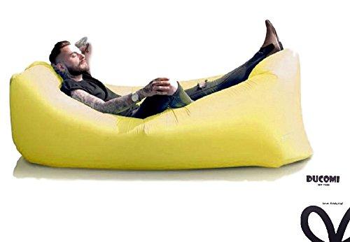 Ducomi AirPuffy - Colchón Autoinflable Portable e Impermeable Cómodas Bolsa Journey - Sillón Sofás Ideal para la Playa, Camping y Relax - Dimensiones: 260 x 70 cm (Yellow)