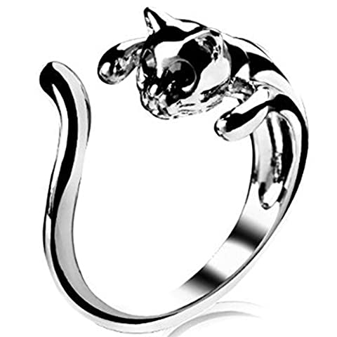 JE5041 Jewelry Ring,Silver Plated Cat Shape Ring, Adjustable Size