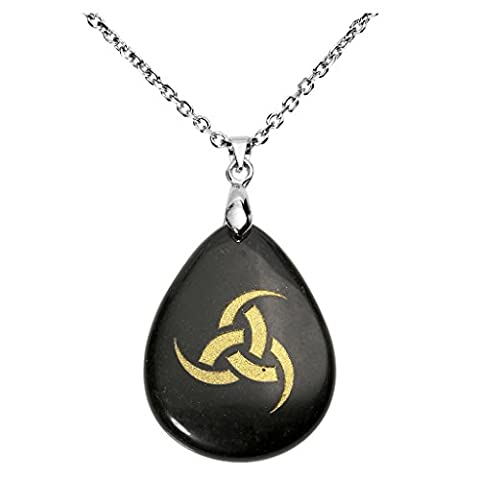 QGEM Black Obsidian Horn of Odin King of Asgard Pewter Pendant Necklace Gemstone Engraved Vintage Viking Rune with Chain 24