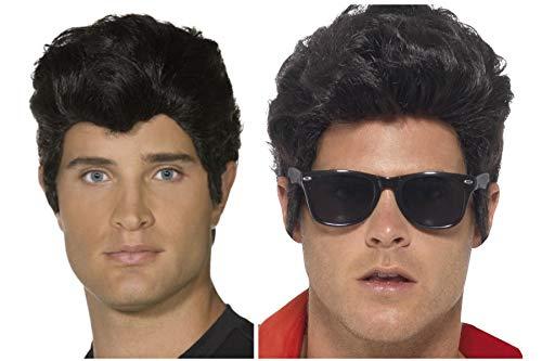Fancy dress world 42099 4204 - parrucca da uomo e ragazzo, motivo: grease danny zuko, colore: nero