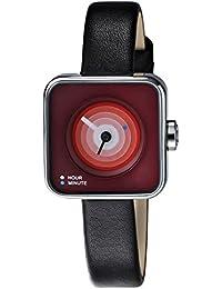 TACS TS1007B - Reloj analógico de cuarzo para mujer, correa de cuero color negro