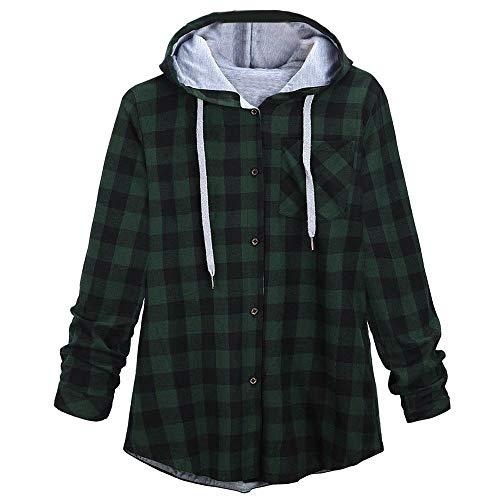 KIMODO Pullover Damen Lang Herbst Winter Plaid Sweatshirts Kapuzenpullover Hoodie Kapuzenjacke Bluse Oversize Tops Mode 2018