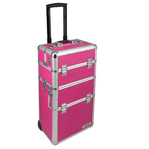anndora Trolley abnehmbarer Koffer Alukoffer Pilotenkoffer variable Fächer Pink