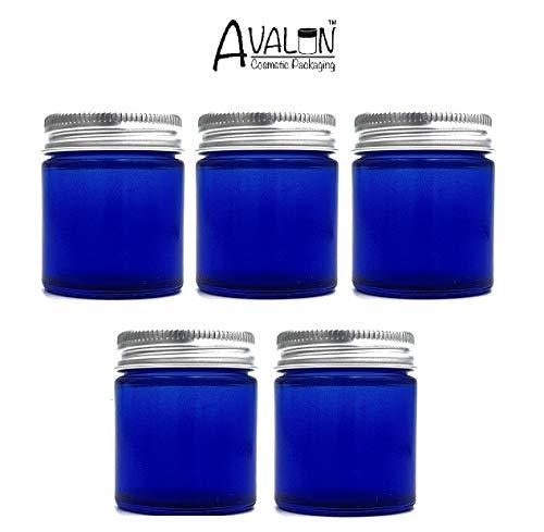 30ml Blaue Glaskrüge Mit Aluminium Deckel (5er Packung). Geeignet Für Aromatherapie, Cremes, Softgel, Seren, Wachs, Salben, Erste Hilfe Usw.
