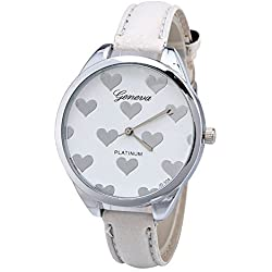 TylerHancock - Reloj de cuarzo y piel para mujer con diseño de corazones