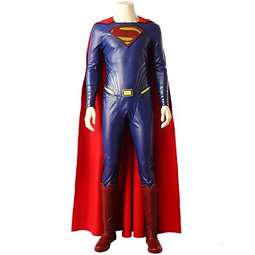 Kostüme für Erwachsene, Cosplay Superman COS Kleidung Erwachsenen Ganzen Satz Von Mantel Lederbekleidung Kleidung Full Set (remarks Shoe Size)-S (Superman Kostüm Ändern)