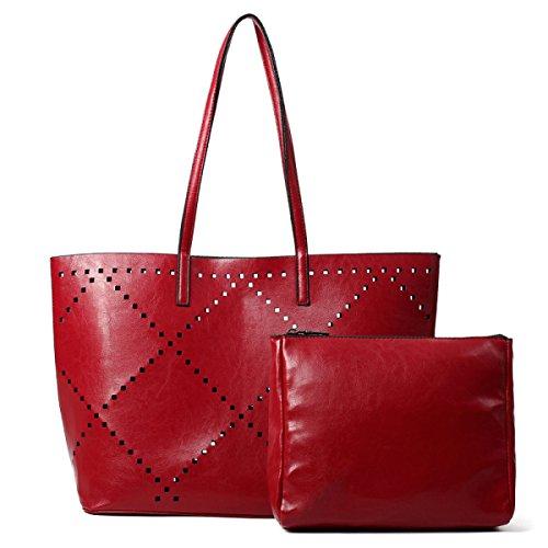 ZPFME Womens Umhängetaschen Mit Mode Rhombus Sets Party Retro Bankett Mode Handtaschen Damen-Taschen Klassisch Red