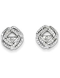 14K oro blanco diamante cuadrado pendientes para hombre, de diamante de quilate 0,35