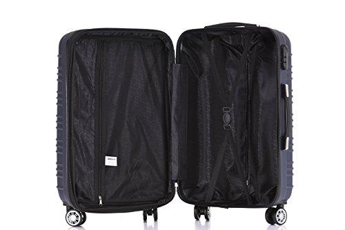 BEIBYE 2088 Zwillingsrollen Reisekoffer Koffer Trolleys Hartschale M-L-XL-Set in 13 Farben (Dunkelblau, XL) - 8