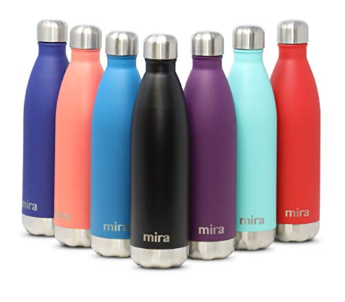 MIRA vakuumisolierte Wasserflasche aus Edelstahl | Schlanke auslaufsichere doppelwandige Flasche | Hält Getränke 24 Stunden lang kalt & 12 Stunden warm | 500 ml Schwarz