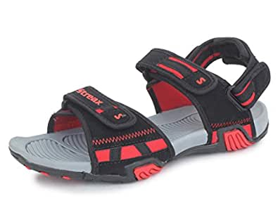 Streax Men's Hunky Black/Red Sandals & Floaters-6 IND/UK