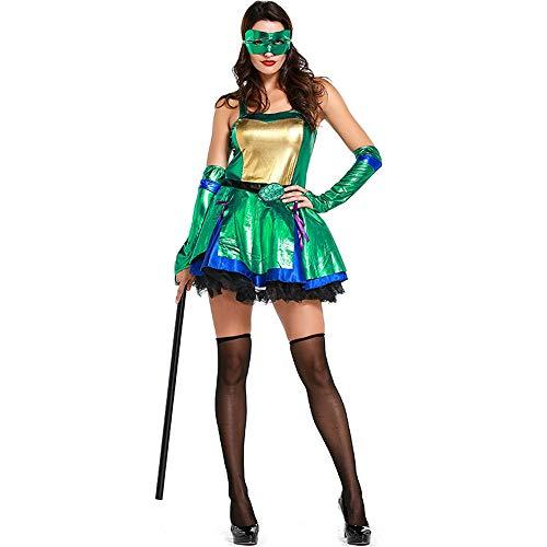 Guolipin Kostüm für Erwachsene Damen Krieger Anzug Grün Teenage Mutant Ninja Cosplay Kostüm Export Halloween Kostüm Modern Dance Dance Kostüm Mottoparty Kostüm Für Frauengeschenke (Weibliche Krieger Kostüm Zubehör)