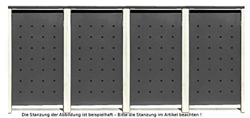 BBT@ | Hochwertige Mülltonnenbox für 4 Tonnen je 240 Liter mit Klappdeckel in Silber / Aus stabilem pulver-beschichtetem Metall / Stanzung 3 / In verschiedenen Farben sowie mit unterschiedlichen Blech-Stanzungen erhältlich / Mülltonnenverkleidung Müllboxen Müllcontainer - 2
