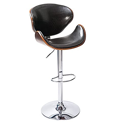 Life Carver Height Adjustable Bentwood Leather Padded Bar stool Chair