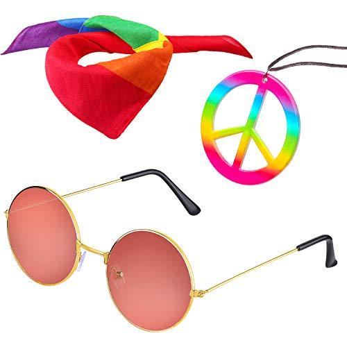 Beelittle Hippie-Kostüm Set - 60er Jahre Kreis Brille Friedenszeichen Halskette Hippie Stirnband 60er Jahre Party-Zubehör-Kit (E)