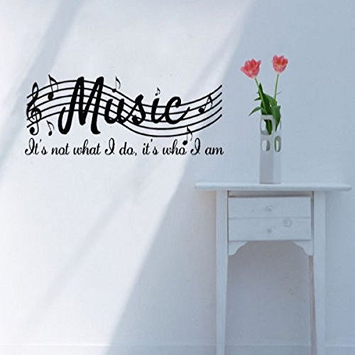 Bluelover PVC adesivo da parete rimovibile notazione musicale Living camera decorazione