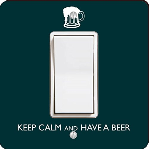 Rikki Knight Keep Calm and Have a Beer Single Rocker Light Switch Plate, Green