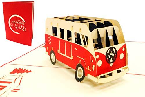 Lin 17574, Pop Up Karte Bus, 3D Grußkarten Auto, Bus Bulli Grußkarte, Geburtstagskarten, Gutschein Urlaub, Bus Bulli rot, N334