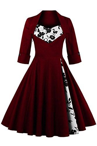 Babyonline Sommer Damen Polka Dots Kleider Vintagekleid Rockabilly Kleid Partykleider S-5XL, Weinrot mit Blumen, 5XL