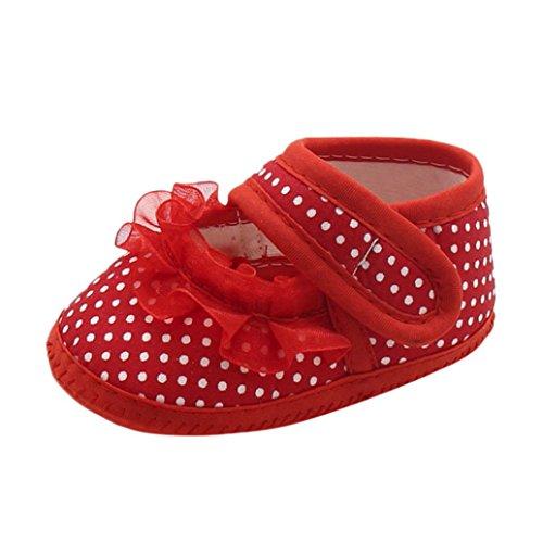FNKDOR Neugeborene Baby Mädchen Schuhe Spitzen Verzieren Weiche Sohle Hausschuhe(00-06 Monate,Rot)