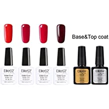 Elite99 6pcs Kit de Esmalte de Uñas de Gel Serie de Color Rojo Vino Semipermanente con Top Coat Base Coat Shellac Laca Soak Off UV LED Manicura Arte