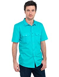 Tom Franks Plain Cotton Short Sleeved Shirt with Two Tab Pockets