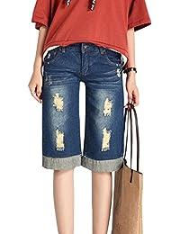 7436c2af530f Donna Taglie Forti Shorts Jeans Corti Strappati Baggy Pantaloni Al Ginocchio