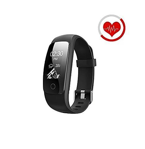 Fitness Tracker, Smart Armband Herz Rate Monitor/Activity Tracker Fitness Health Smartwatch/Music Control, Antiverlust/Wasserdicht Tracker Monitor Kalorienzähler Schrittzähler Armbanduhr für Android und IOS, schwarz