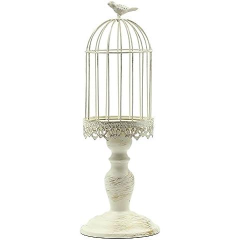 Titolare gabbia/Paese spazzolato oro bianco candela/Supporto di candela di nozze/Supporto di candela decorazione decorazione casa-A