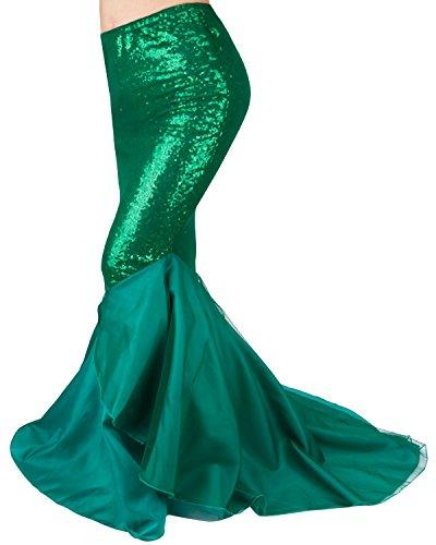 Tiaobug Damen Rock Röcke Bodenlang Maxirock Pailletten Meerjungfrau Schwanz Kostüm Karneval Fasching Party Kleid Grün M