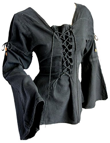Dark Dreams Gothic Mittelalter LARP Bluse Anouska, Farbe:schwarz, Größe:XXL