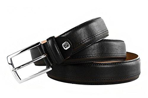 Cintura uomo PIERRE CARDIN nera in pelle made in Italy impunturata 123 cm R4697