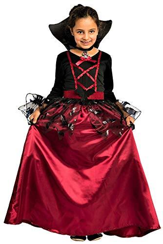 Magicoo Fledermaus Vampir Kostüm Kinder Mädchen mit Kragen - schickes Halloween Vampirkostüm Kind Gr. 110 bis 140 (146/152)