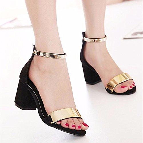 QIYUN.Z Les Femmes De La Mode Sexy Ete A Bout Ouvert Chunky Sandales Talons Bas Chaussures De Fete Noir